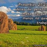 Proverbios 21:25 El deseo del perezoso le mata