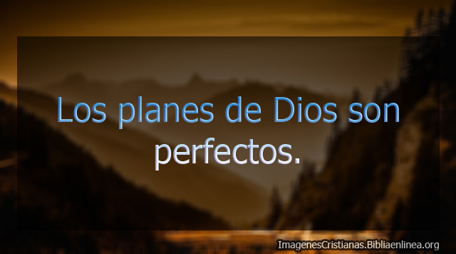 Los planes de Dios son pefectos