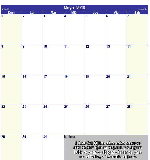 Calendario cristiano de mayo 2016