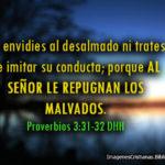 Proverbios de este día: No envidies al desalmado ni trates de imitar su conducta