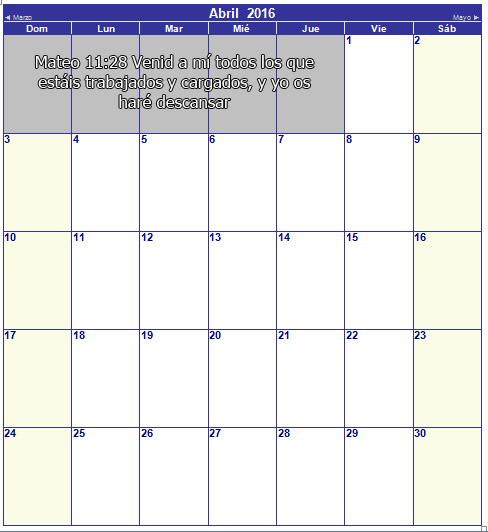 calendario cristiano de abril 2016