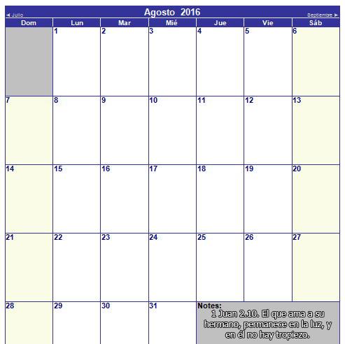 calendario cristiano de agosto 2016