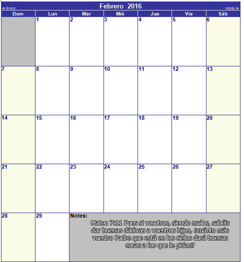 calendario cristiano de febrero 2016