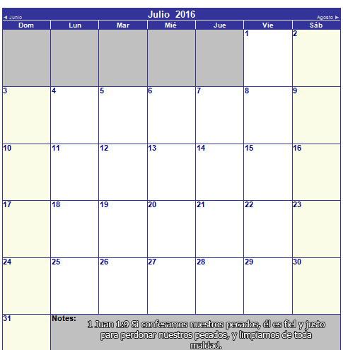 calendario cristiano de julio 2016