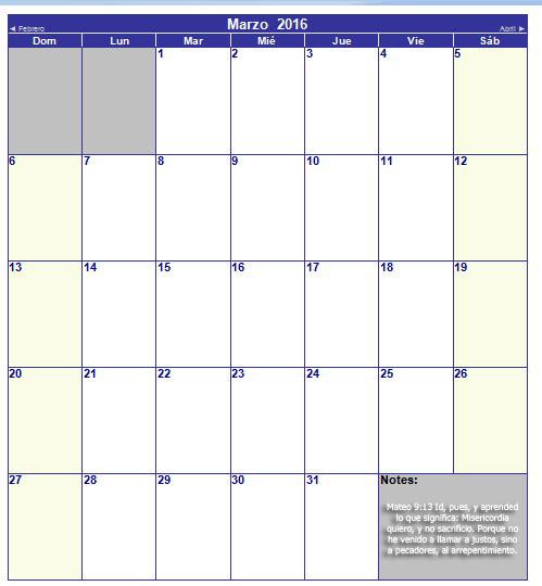 calendario cristiano de marzo 2016