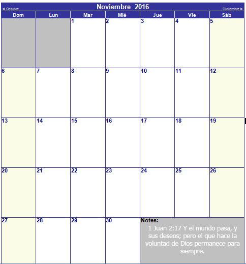 calendario cristiano de noviembre 2016