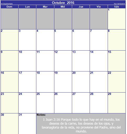calendario cristiano de octubre 2016