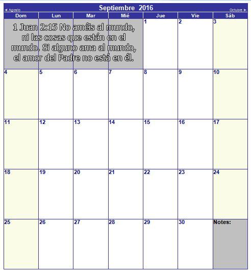 calendario cristiano de septiembre 2016