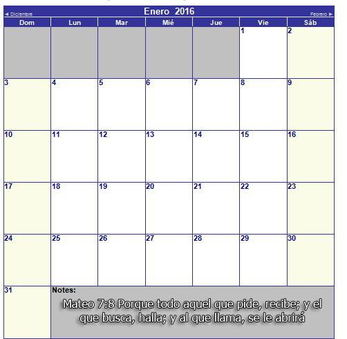 calendario de enero 2016 cristiano