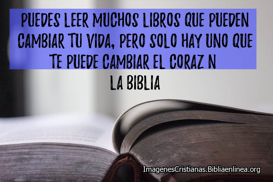 Puedes leer muchos libros que te pueden hacer cambiar pero la biblia te va a cambiar el corazon
