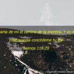 Salmos 119:29 Aparta de mí el camino de la mentira