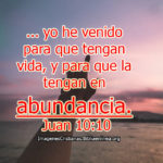 Juan 10:10 … yo he venido para que tengan vida, y para que la tengan en abundancia.