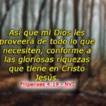 Filipenses 4:19 Mi Dios, pues, suplirá todo lo que os falta conforme
