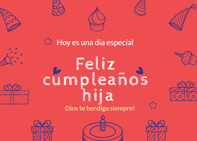 Feliz cumpleaños hija tarjeta cristiana