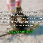 Salmos 139:23-24 Examíname, oh Dios, y conoce mi corazón