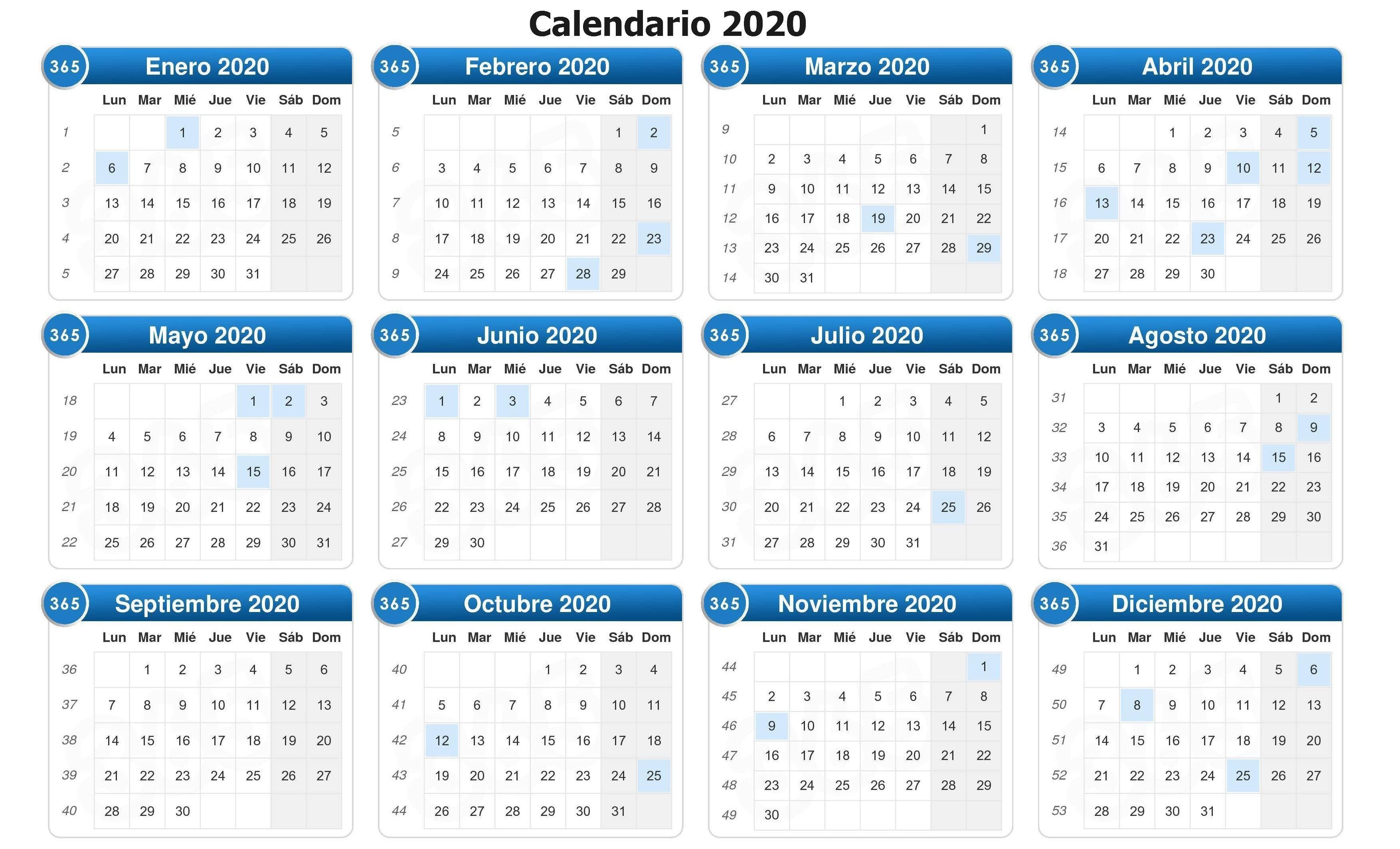 Calendario 2020 completo 12 meses