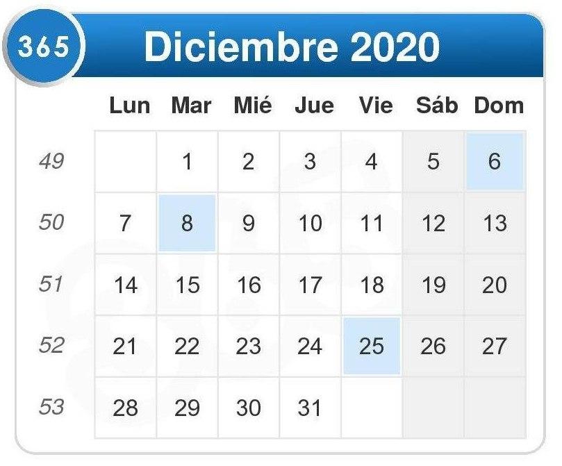 Calendario de diciembre 2020