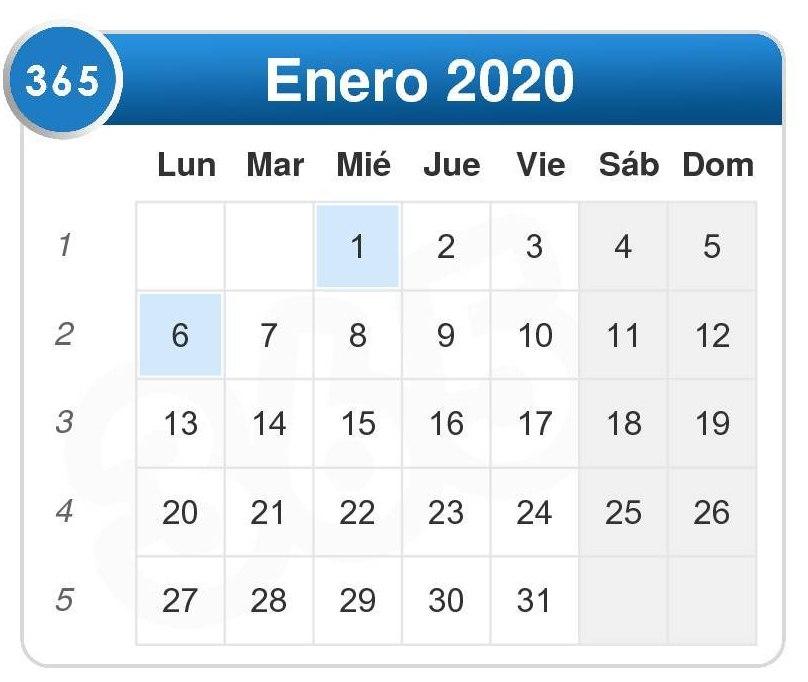 Calendario de enero 2020