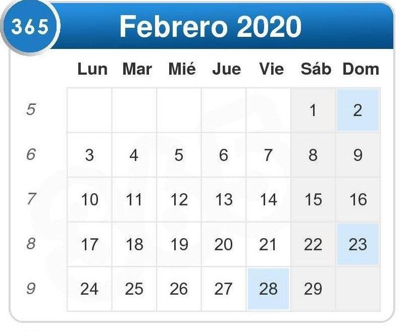 Calendario de febrero 2020