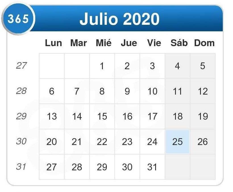 Calendario de julio 2020