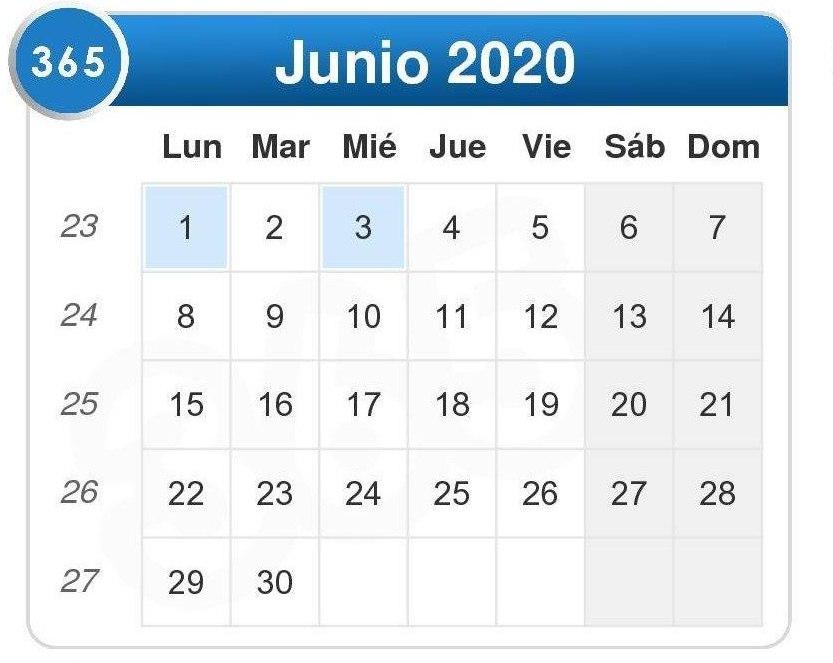 Calendario de junio 2020
