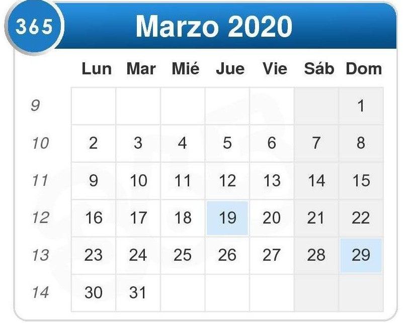 Calendario de marzo 2020