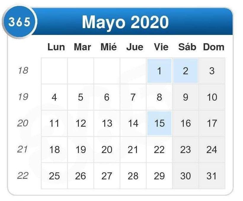 Calendario de mayo 2020