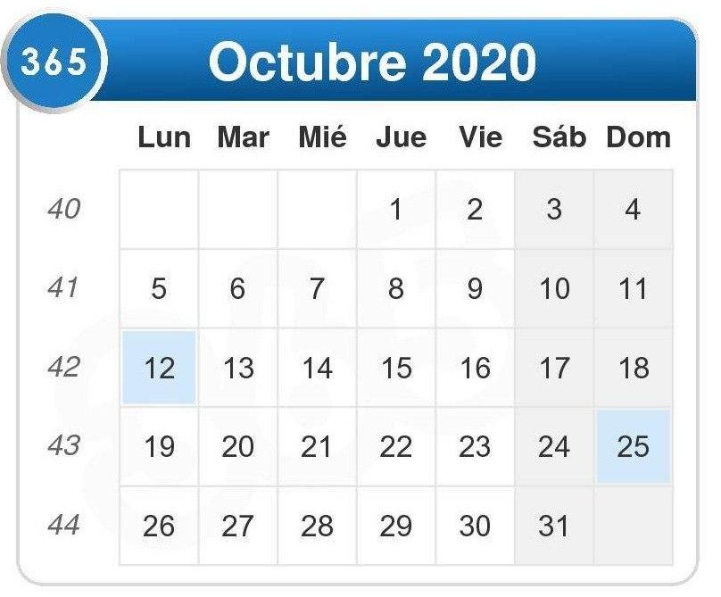 Calendario de octubre 2020