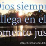 Dios siempre llega en el justo momento – frase cristiana